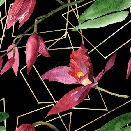 Foto de Marsala orchids with green leaves on black background. Watercolor illustration set. Seamless background pattern. - Imagen libre de derechos