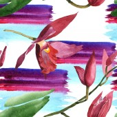 """Постер, картина, фотообои """"Marsala orchids with green leaves on white background with paint brushstrokes. Watercolor illustration set. Seamless background pattern. """""""