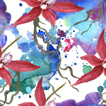 Photo for Marsala orchids with green leaves on white background with paint spills. Watercolor illustration set. Seamless background pattern. - Royalty Free Image