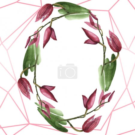 Marsala orchids with green leaves isolated on white. Watercolor background illustration set. Frame border ornament with copy space.