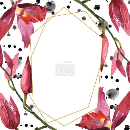 Photo for Marsala orchids with green leaves isolated on white. Watercolor background illustration set. Frame border ornament with copy space. - Royalty Free Image