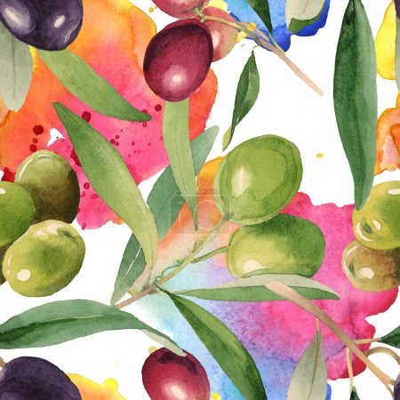 Photo for Fresh olives with green leaves isolated on white watercolor background illustration elements. Seamless background pattern. - Royalty Free Image