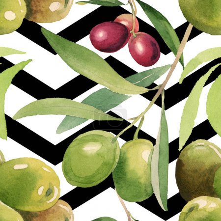 Photo pour Fresh olives with green leaves isolated on white watercolor background illustration elements. Seamless background pattern. - image libre de droit