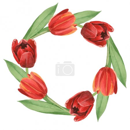 Wreath of red tulips with green leaves illustration isolated on white. Frame ornament with copy space.