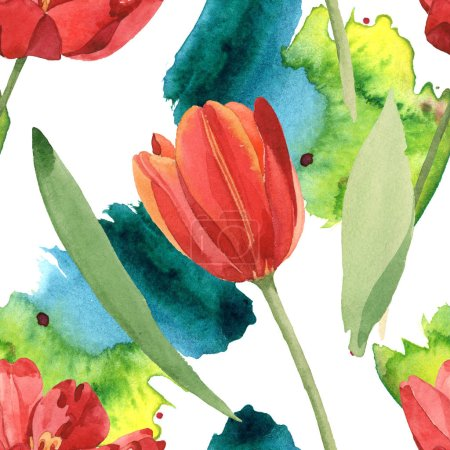 Photo pour Red tulips with green leaves and paint spills. Watercolor illustration set. Seamless background pattern. - image libre de droit