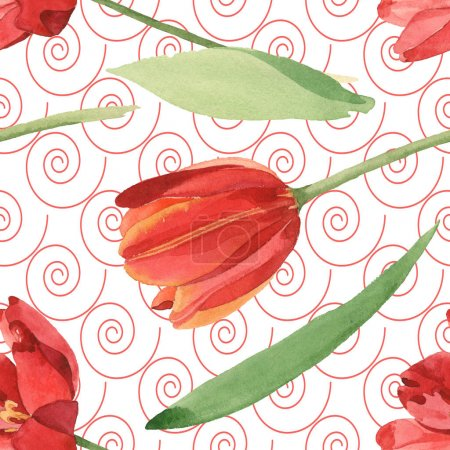 Photo for Red tulips with green leaves. Watercolor illustration set. Seamless background pattern. - Royalty Free Image