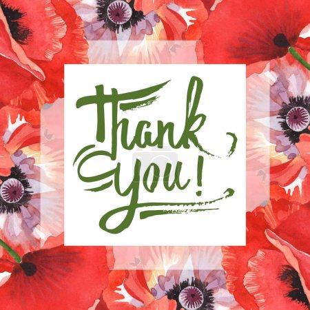 Photo pour Coquelicots rouges isolés sur blanc. Ensemble d'illustration de fond aquarelle. Cadre avec des fleurs et lettrage de remerciement . - image libre de droit