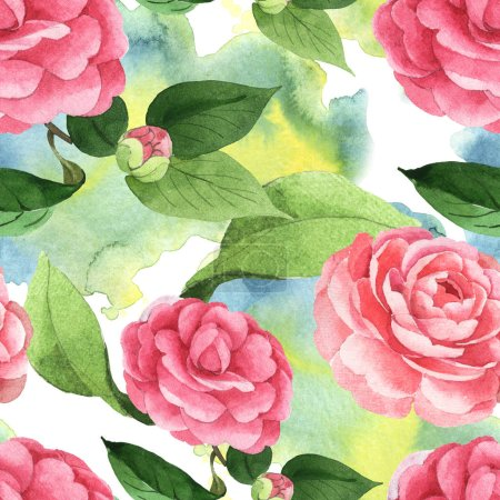 Foto de Pink camellia flowers with green leaves on background with watercolor paint spills. Watercolor illustration set. Seamless background pattern. - Imagen libre de derechos
