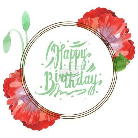 Photo for Red poppies isolated on white. Watercolor background illustration set. Frame with flowers and Happy birthday lettering. - Royalty Free Image