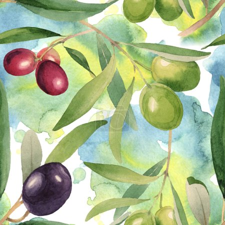 Foto de Fresh olives with green leaves isolated on white watercolor background illustration elements. Seamless background pattern. - Imagen libre de derechos