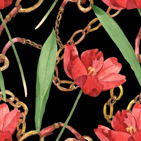 Photo for Red tulips with green leaves and golden chains isolated on black. Watercolor illustration set. Seamless background pattern. - Royalty Free Image