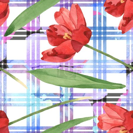Photo for Red tulips with green leaves on white plaid background. Watercolor illustration set. Seamless background pattern. - Royalty Free Image