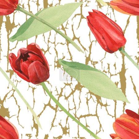 Photo pour Tulipes rouges avec les lames vertes sur le fond texturé blanc. Ensemble d'illustration d'aquarelle. Modèle de fond sans couture. - image libre de droit