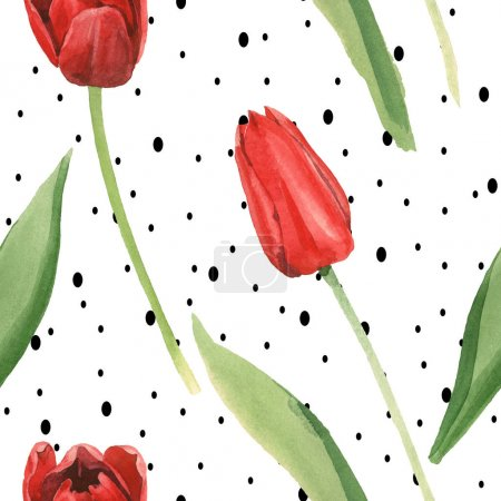 Foto de Red tulips with green leaves on white background with black dots. Watercolor illustration set. Seamless background pattern. - Imagen libre de derechos