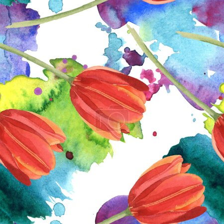 Photo for Red tulips and paint spills. Watercolor illustration set. Seamless background pattern. - Royalty Free Image