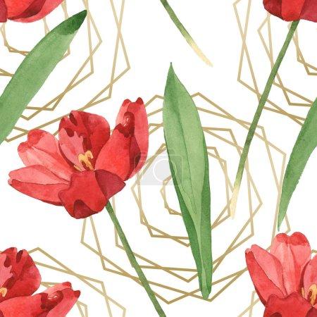 Photo pour Tulipes rouges avec des lames vertes sur le fond blanc. Ensemble d'illustration d'aquarelle. Modèle de fond sans couture. - image libre de droit