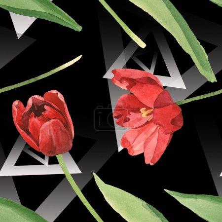 Photo pour Tulipes rouges avec les lames vertes sur le fond noir. Ensemble d'illustration d'aquarelle. Modèle de fond sans couture. - image libre de droit