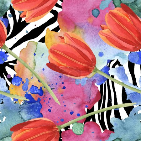 Photo for Red tulips and paint spills on zebra background. Watercolor illustration set. Seamless background pattern. - Royalty Free Image