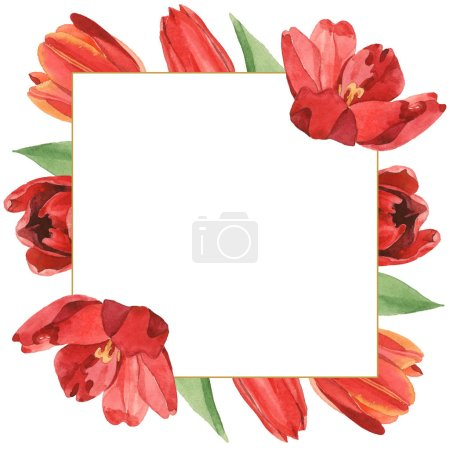 Foto de Wreath of red tulips with green leaves illustration isolated on white. Frame ornament with copy space. - Imagen libre de derechos