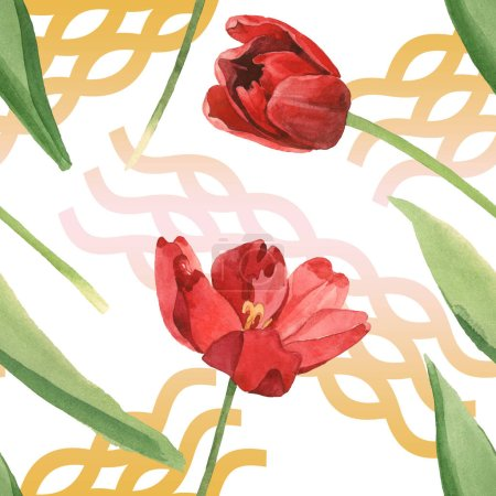 Photo for Red tulips with green leaves isolated on white. Watercolor illustration set. Seamless background pattern. - Royalty Free Image