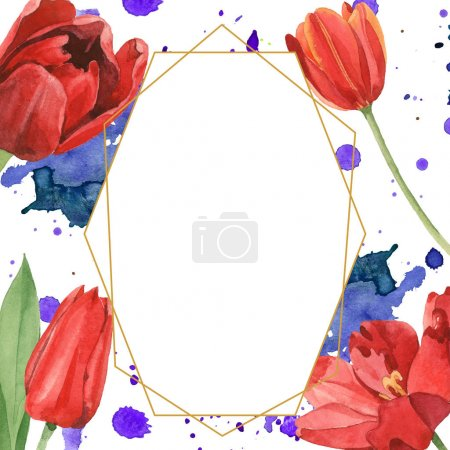 Photo for Red tulips with green leaves illustration isolated on white. Frame ornament with blue and purple paint spills and copy space. - Royalty Free Image