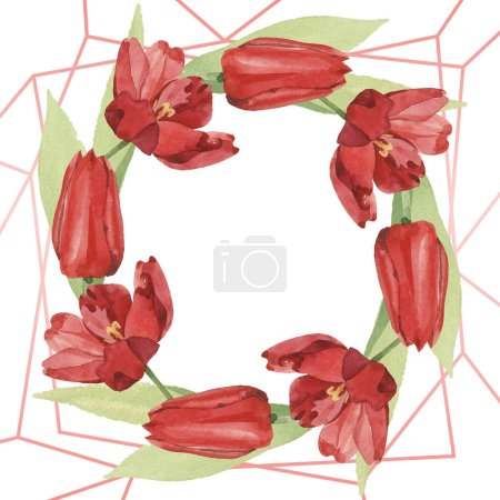 Photo pour Wreath of red tulips with green leaves illustration isolated on white. Frame ornament with copy space. - image libre de droit