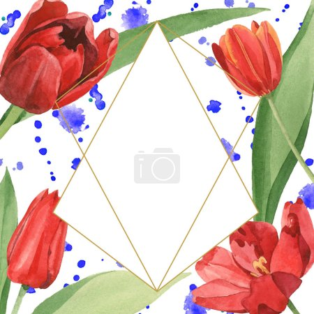 Photo for Red tulips with green leaves illustration isolated on white. Frame ornament with blue paint spills and copy space. - Royalty Free Image