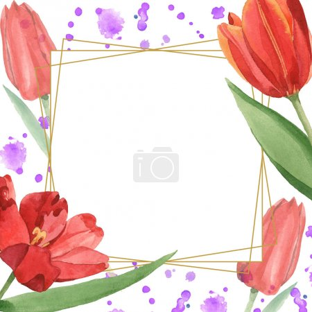 Foto de Red tulips with green leaves illustration isolated on white. Frame ornament with purple paint spills and copy space. - Imagen libre de derechos