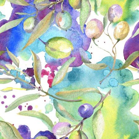 Foto de Olive branches with green fruit and leaves. Watercolor background illustration set. Seamless background pattern. - Imagen libre de derechos