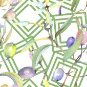 """Постер, картина, фотообои """"Olive branches with green fruit and leaves. Watercolor background illustration set. Seamless background pattern. """""""