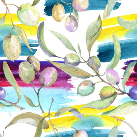 Photo pour Olive branches with green fruit and leaves. Watercolor background illustration set. Seamless background pattern. - image libre de droit