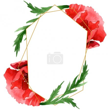 Photo for Red poppies with green leaves isolated on white. Watercolor background illustration set. Frame ornament with copy space. - Royalty Free Image