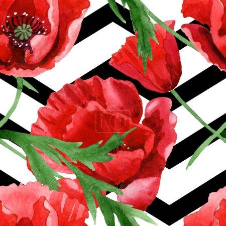 Photo pour Coquelicots rouges avec l'ensemble vert d'illustration d'aquarelle de feuilles. Modèle de fond sans couture. - image libre de droit