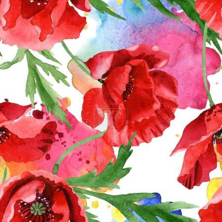 Photo pour Coquelicots rouges avec feuilles vertes aquarelle ensemble d'illustration. Modèle de fond sans couture . - image libre de droit