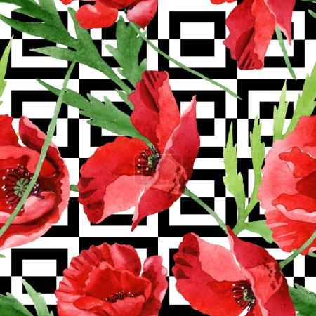Foto de Red poppies with green leaves watercolor illustration set. Seamless background pattern. - Imagen libre de derechos