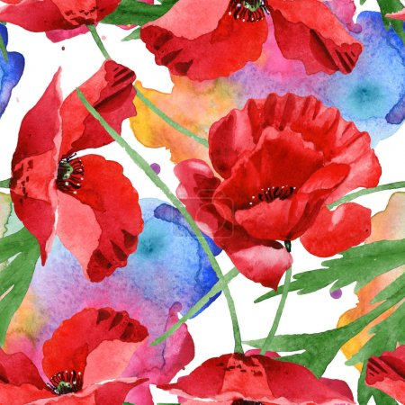 Photo for Red poppies with green leaves watercolor illustration set. Seamless background pattern. - Royalty Free Image