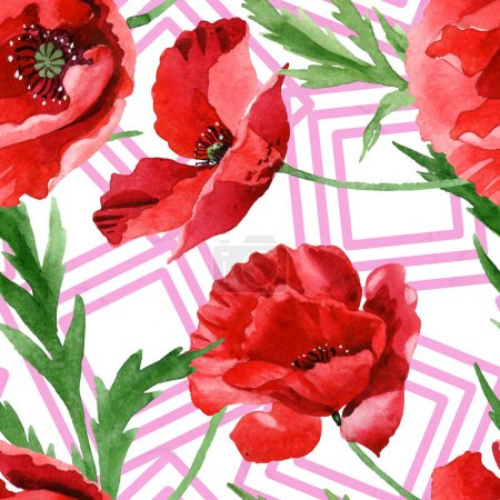 Photo pour Red poppies with green leaves watercolor illustration set. Seamless background pattern. - image libre de droit