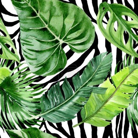 Foto de Exotic tropical hawaiian palm tree leaves. Watercolor background illustration set. Seamless background pattern. - Imagen libre de derechos