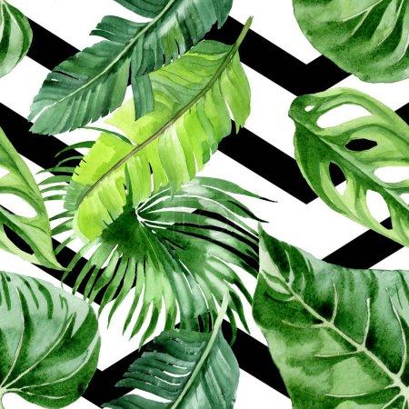 Photo pour Feuilles exotiques de palmiers hawaïens tropicaux. Ensemble d'illustration de fond aquarelle. Modèle de fond sans couture . - image libre de droit