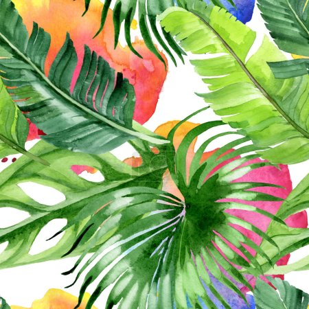 Photo pour Feuilles tropicales exotiques de palmier hawaïen. Ensemble d'illustration de fond d'aquarelle. Modèle de fond sans couture. - image libre de droit