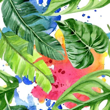 Foto de Exóticas hojas tropicales de palmeras hawaianas. Conjunto de ilustraciones de fondo de acuarela. Patrón de fondo sin costuras. - Imagen libre de derechos
