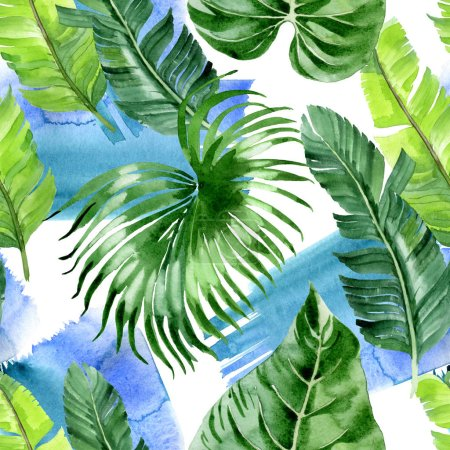 Photo pour Exotic tropical hawaiian palm tree leaves. Watercolor background illustration set. Seamless background pattern. - image libre de droit