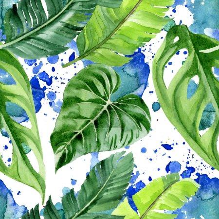 Photo pour Exotic tropical hawaiian palm tree leaves. Watercolor background illustration set. Seamless background pattern. - image libre de droit
