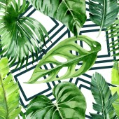 "Постер, картина, фотообои ""Exotic tropical hawaiian palm tree leaves. Watercolor background illustration set. Seamless background pattern. """