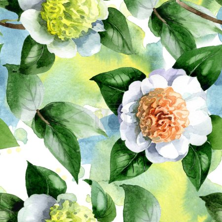 Photo for White camellia flowers with green leaves watercolor illustration set. Seamless background pattern. - Royalty Free Image