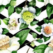 "Постер, картина, фотообои ""White camellia flowers with green leaves watercolor illustration set. Seamless background pattern."""