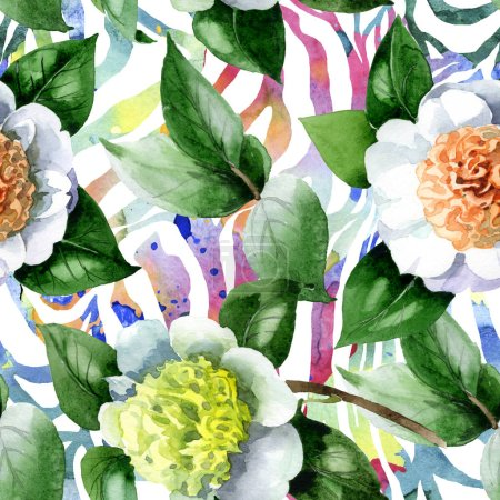 Photo pour White camellia flowers with green leaves watercolor illustration set. Seamless background pattern. - image libre de droit