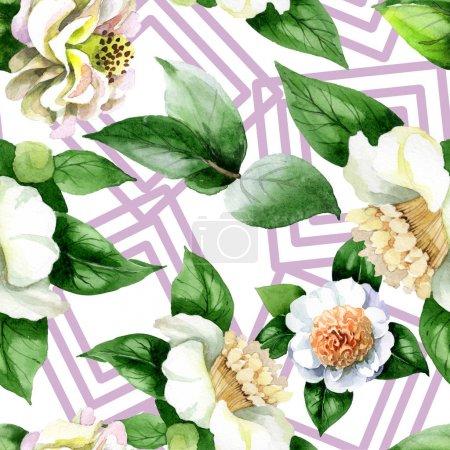 Photo pour Fleurs de camélia blanche avec des feuilles vertes aquarelle ensemble d'illustrations. Schéma de fond homogène. - image libre de droit