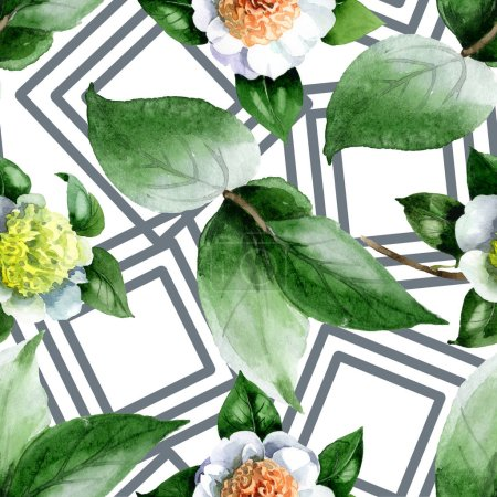 Foto de White camellia flowers with green leaves watercolor illustration set. Seamless background pattern. - Imagen libre de derechos