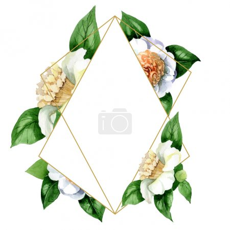 Photo pour White camellia flowers with green leaves isolated on white. Watercolor background illustration set. Frame border ornament with copy space. - image libre de droit